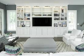 Built In Living Room Furniture White Living Room Tv Cabinet With Nickel Picture Lights
