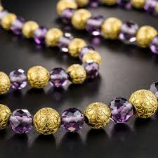 amethyst necklace beads images Victorian amethyst and gold bead etruscan revival necklace jpg