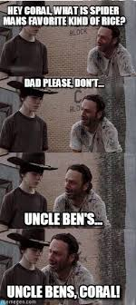 Carl Walking Dead Meme - uncle bens coral carl walking dead meme on memegen