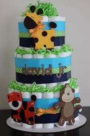 Safari Baby Shower Centerpiece by 3 Tier Jungle Diaper Cake Navy Blue Lime Green Orange Safari