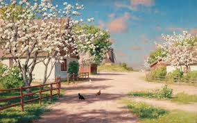 farm spring trees poultry way wallpapers farm spring trees