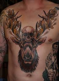 men chest cover up with marvelous death skull big aries face