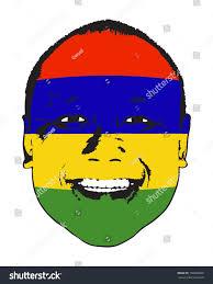 Mauritius Flag Mauritius Flag On Face Isolated Against Stock Vector 150360008