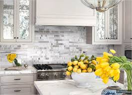 Grey Kitchen Backsplash White Kitchen Cabinet Marble Countertop White Gray Backsplash Tile