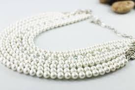 pearl crystal statement necklace images Multi strand pearl crystal statement necklace special occasion bridal jpg