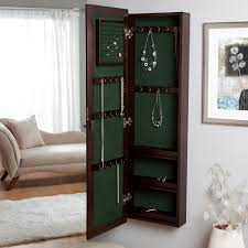 Black Armoire Wall Mounted Locking Wooden Jewelry Armoire 14 5w X 50h In