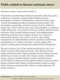 top 8 finance assistant resume samples