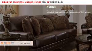 Durablend Leather Sofa Durablend Traditional Antique Leather Sofa With Cushion
