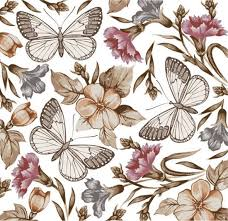 butterfly flower pattern vector free vector in encapsulated