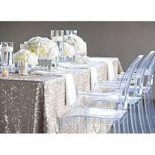 shinybeauty 60inx 102in silver sequin wedding table cloth sparkle