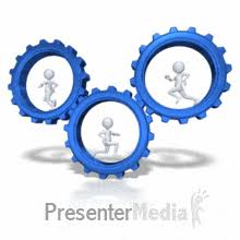 running the gears a powerpoint template from presentermedia com