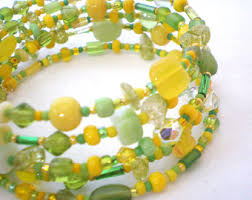 green yellow jewelry etsy