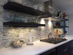 kitchen backsplash open shelving focal wall glass mosaic modern