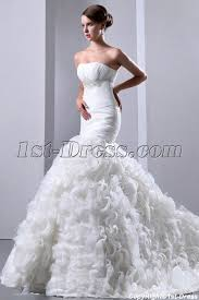 feather wedding dress pretty ruffle mermaid bridal gowns 2014 with ostrich feathers 1st