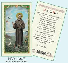 prayer card francis of assisi prayer card single laminated