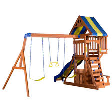 furniture wooden playsets with blue slider and swings for kids