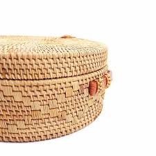 round straw beach bag girls circle rattan bag small bohemian