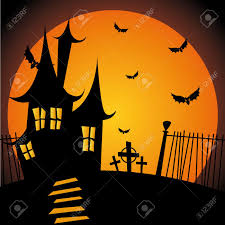 halloween silhouette background abstract castle silhouette on special halloween background royalty
