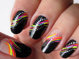 34 beautiful spring nails ideas black with rainbow connected