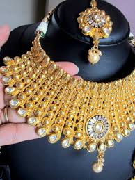 plated choker necklace images Buy broad choker necklace set polki gold plated tika jhumka JPG