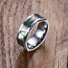 cincin tungsten carbide mprainbow mens cincin tungsten carbide abalone shell inlay