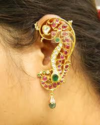 gold kaan earrings earrings jhumkis chandbali gold jewellery earrings jhumkis