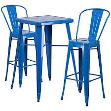 amazon com flash furniture 23 75 u0027 u0027 square blue metal indoor