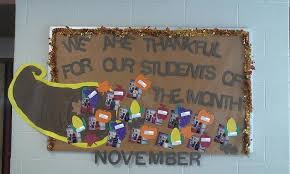 we are thankful for our students of the month november bulletin board
