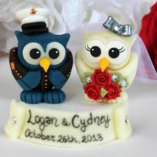 funny marine corps military owl love bird wedding cake toppers