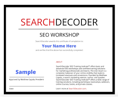 online seo class seo certification searchdecoder certified solutions