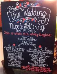 Wedding Program Chalkboard Custom Hand Painted Chalkboard Wedding Program By Easelydesigned