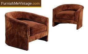 of original vintage corduroy velvet barrel chairs