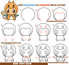 how to draw charmander wearing a charizard costume onesie with a
