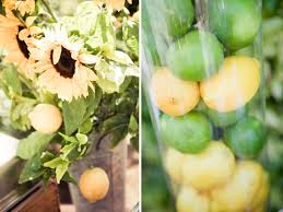 Rustic Vases For Weddings Sunflowers In Rustic Vases And Lemons U0026 Limes In Clear Hurricane
