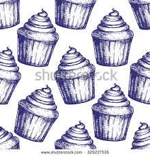 handdrawn vintage cupcake sketch repeating pattern stock