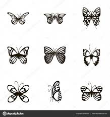 black butterfly tattoos and silhouettes stock vector