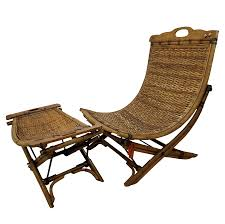 Chairs With Ottoman Vintage Rattan Sling Chair With Ottoman Chairish