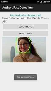 android er google play services face detection detect smiling
