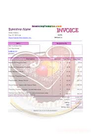 invoicing format for bakery and cake shop