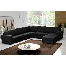 canapé d angle tissu pas cher canapé d angle en u oara 7 8 places tissu noir design achat