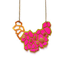 pink leather necklace images Colorful geometric necklaces boo and boo factory handmade