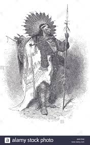 chief full war dress north american indian headdress spear stock