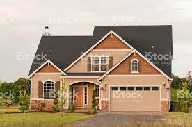House With Garage Front Exterior Of Two Story House With Garage Stock Photo