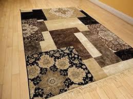 Cream And Black Rugs Amazon Com Luxury Silk Area Rugs 5x8 Modern Rug For Living Room