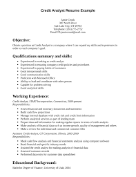 Qualification Resume Examples by Skill Resume Credit Analyst Resume Sample Credit Analyst Resume