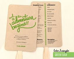 wedding programs the adventure begins wedding program fan cool colors