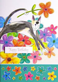 cat greeting cards cat with flowers birthday card
