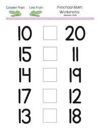 kindergarten math greater than less than worksheets