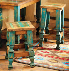 Western Style Furniture Colorful Vintage Turquoise Wood Backless Bar Stools Interior