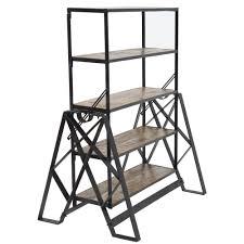 table converts to shelf expressly hubert 3 in 1 industrial black iron convertible shelf
